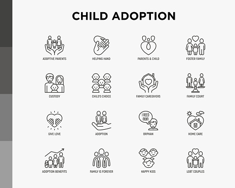 Child adoption thin line icons set: adoptive parents, helping hand, orphan, home care, LGBT couple with child, custody, caregivers, happy kid. Modern vector illustration. clipart