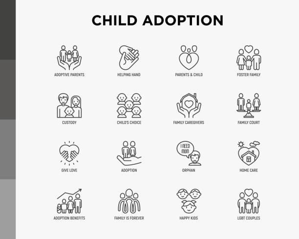 illustrazioni stock, clip art, cartoni animati e icone di tendenza di set di icone della linea sottile per l'adozione dei bambini: genitori adottivi, mano, orfani, assistenza dormiente, coppia lgbt con bambino, custodia, caregiver, bambino felice. illustrazione vettoriale moderna. - family