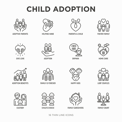 Child adoption thin line icons set: adoptive parents, helping hand, orphan, home care, LGBT couple with child, custody, caregivers, happy kid. Modern vector illustration.