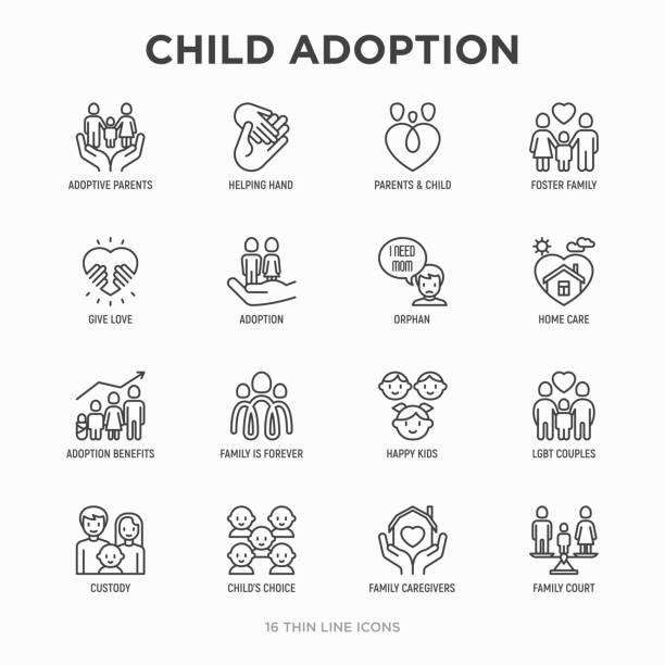 stockillustraties, clipart, cartoons en iconen met kind aanneming dunne lijn icons set: adoptieouders, helpende hand, wees, thuiszorg, lgbt paar met kind, voogdij, verzorgers, happy kid. moderne vector illustratie. - sociale dienst