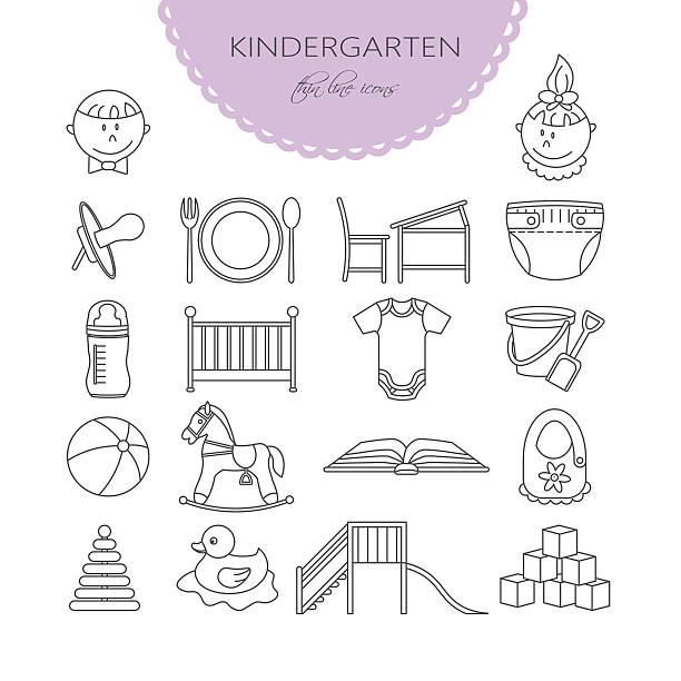 child and baby care center thin line icons. - wickeltisch stock-grafiken, -clipart, -cartoons und -symbole