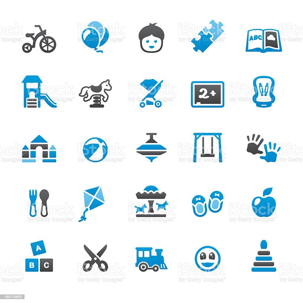Child and Childhood related vector icons vector art illustration