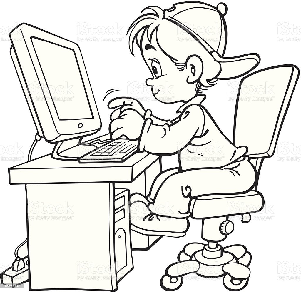 Child And Computer Stock Vector Art & More Images of Black ...