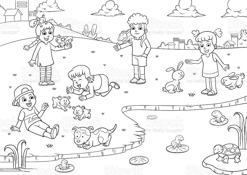 Enfant Dessin Et De Coloriage Pour Les Animaux De Compagnie