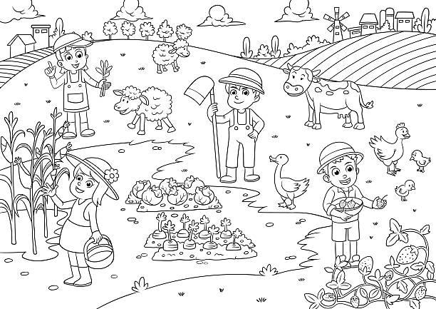 ilustraciones, imágenes clip art, dibujos animados e iconos de stock de niños y mascotas en la granja dibujos animados para colorear - animales de granja