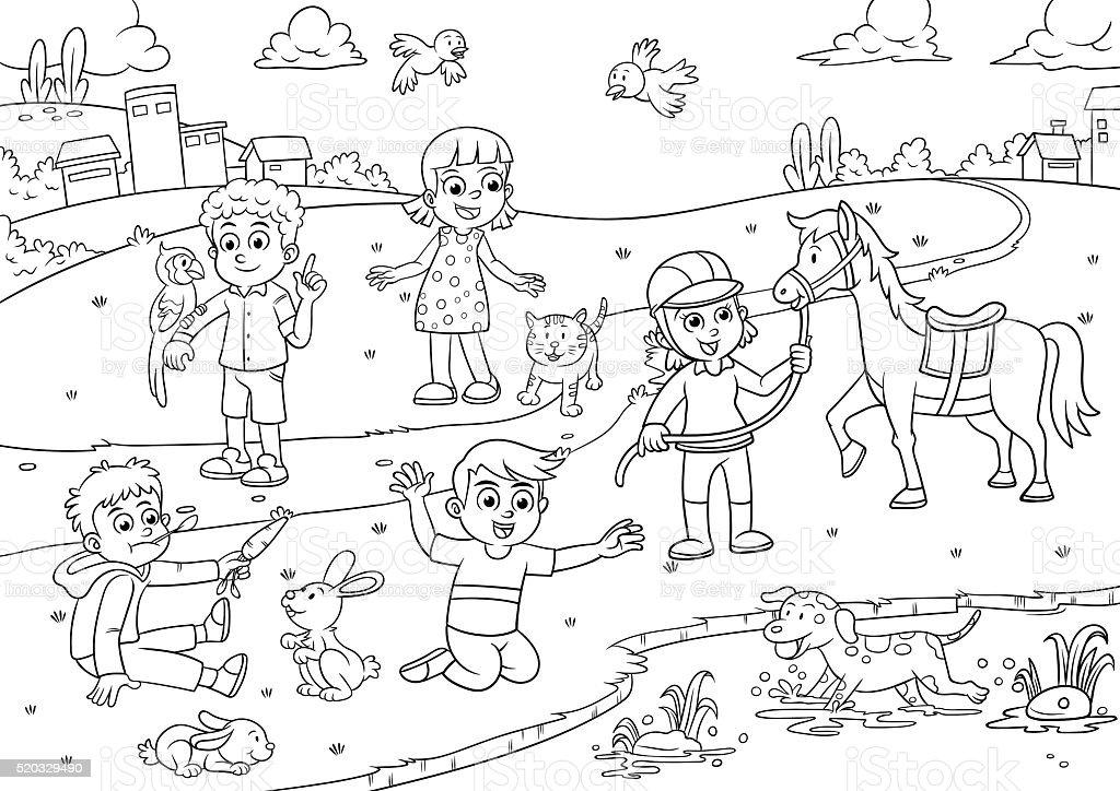 Line Art With Mr E : Ilustração de crianças e animais estimação no parque