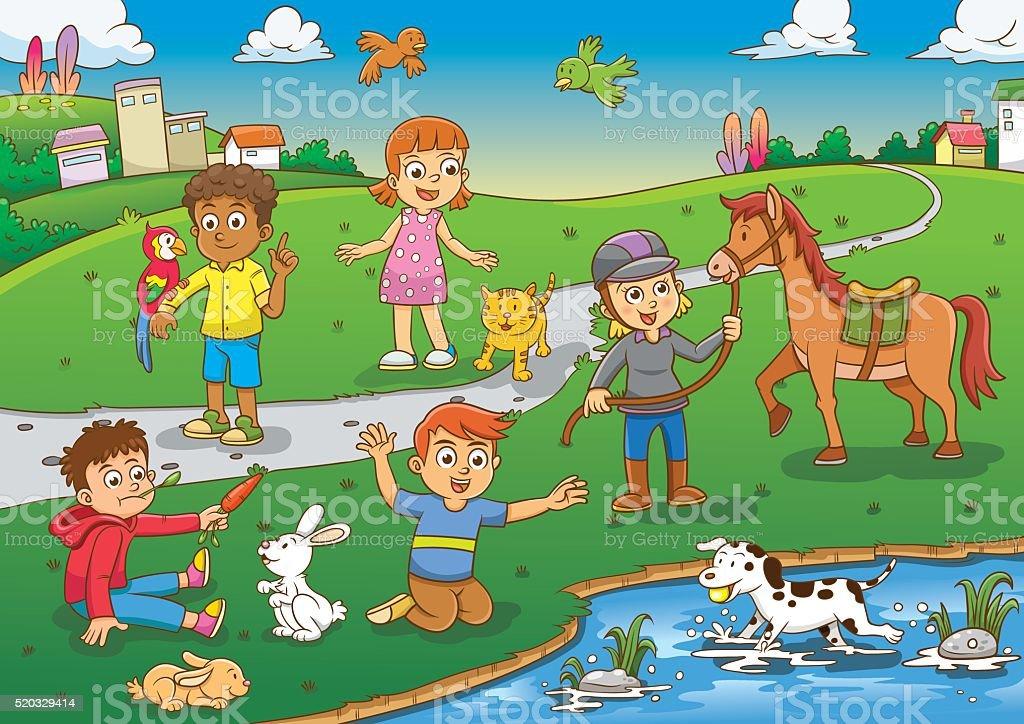 Dibujos Animados De Niños Felices Y Payaso En El Parque: Child And Pet In The Park Cartoon Stock Vector Art & More