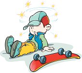 Child and skateboard