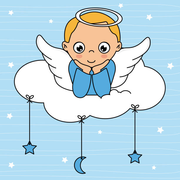 Child angel card on top of the cloud vector art illustration
