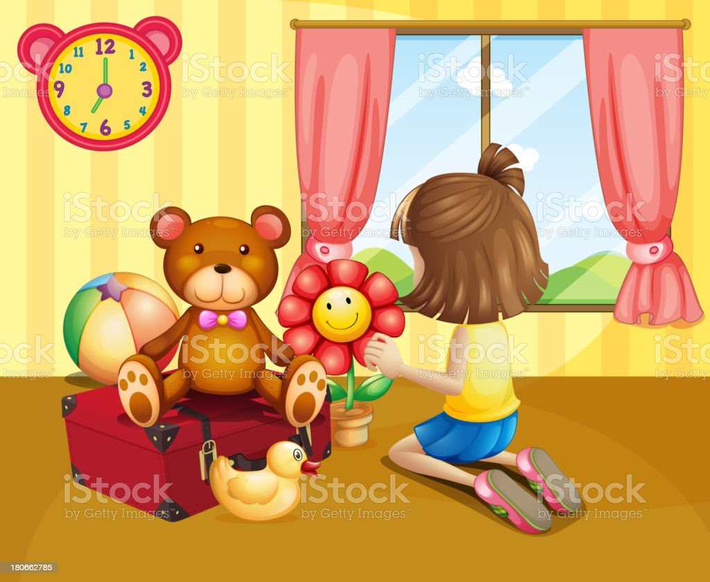 child arranging her toys inside the house royalty-free stock vector art