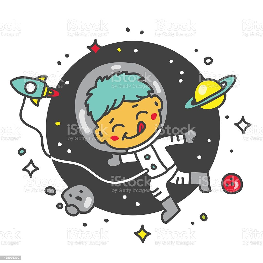 Child astronaut in space vector art illustration