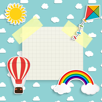 Child background with rainbow, sun, cloud, kite and balloon. Place for text. Vector Illustration