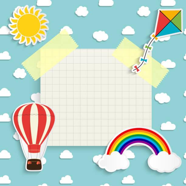 stockillustraties, clipart, cartoons en iconen met de achtergrond van het kind met regenboog, zon, wolk, vlieger en ballon. plaats voor tekst. vectorillustratie - kinderdag