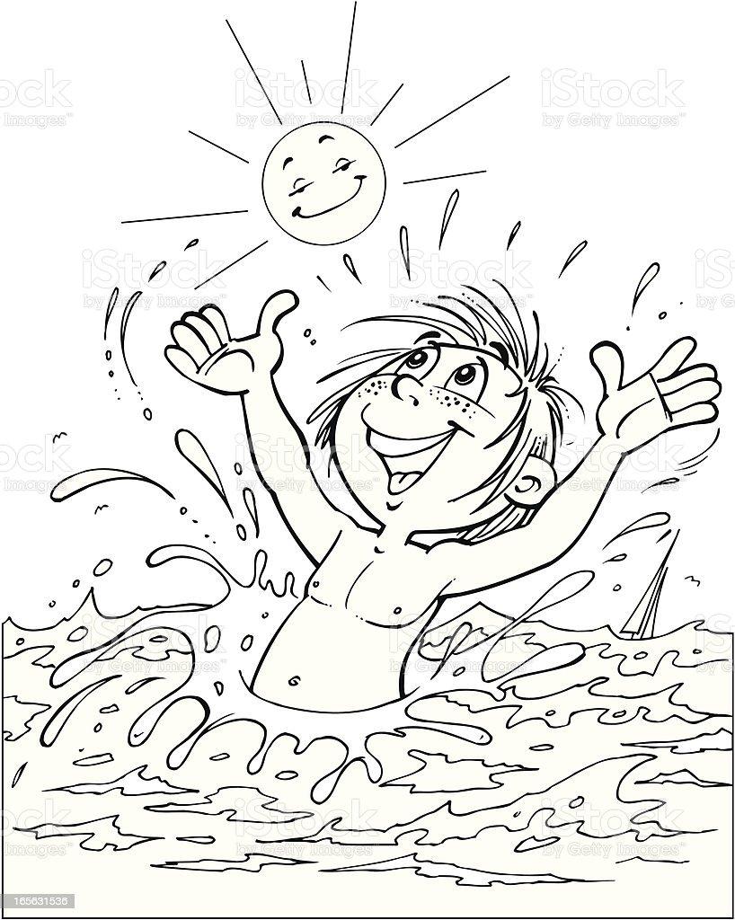 Kind Baden Im Meer Stock Vektor Art und mehr Bilder von ...