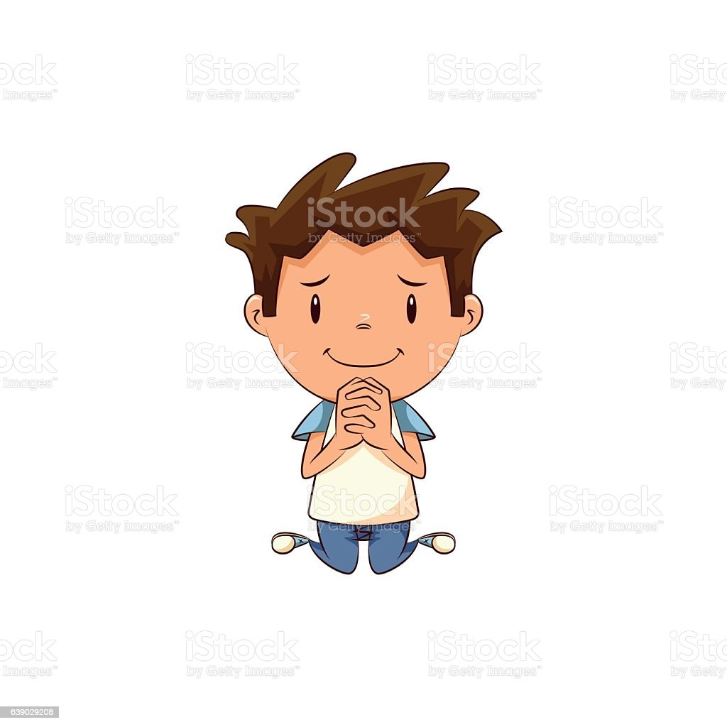 Child begging vector art illustration