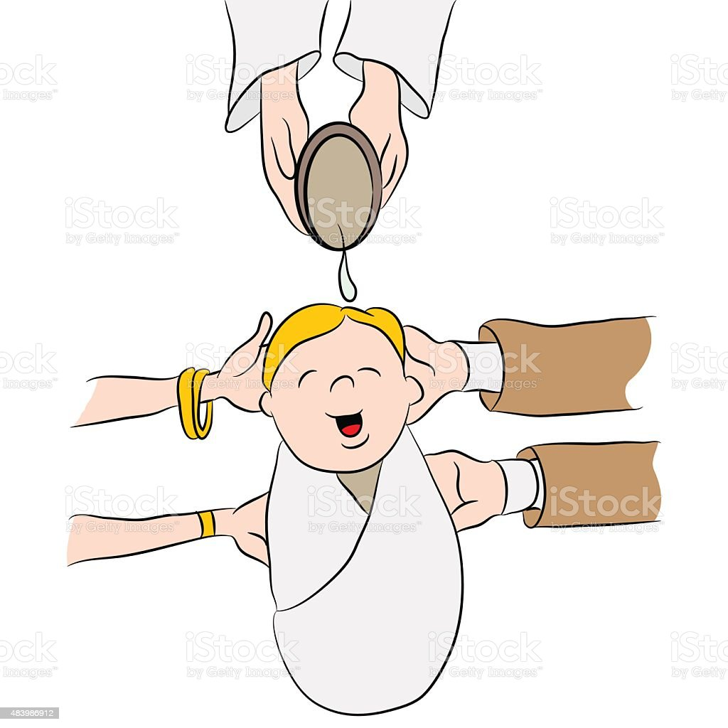 Child Being Baptized Cartoon vector art illustration