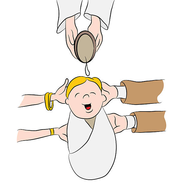 Child Being Baptized Cartoon vector art illustration