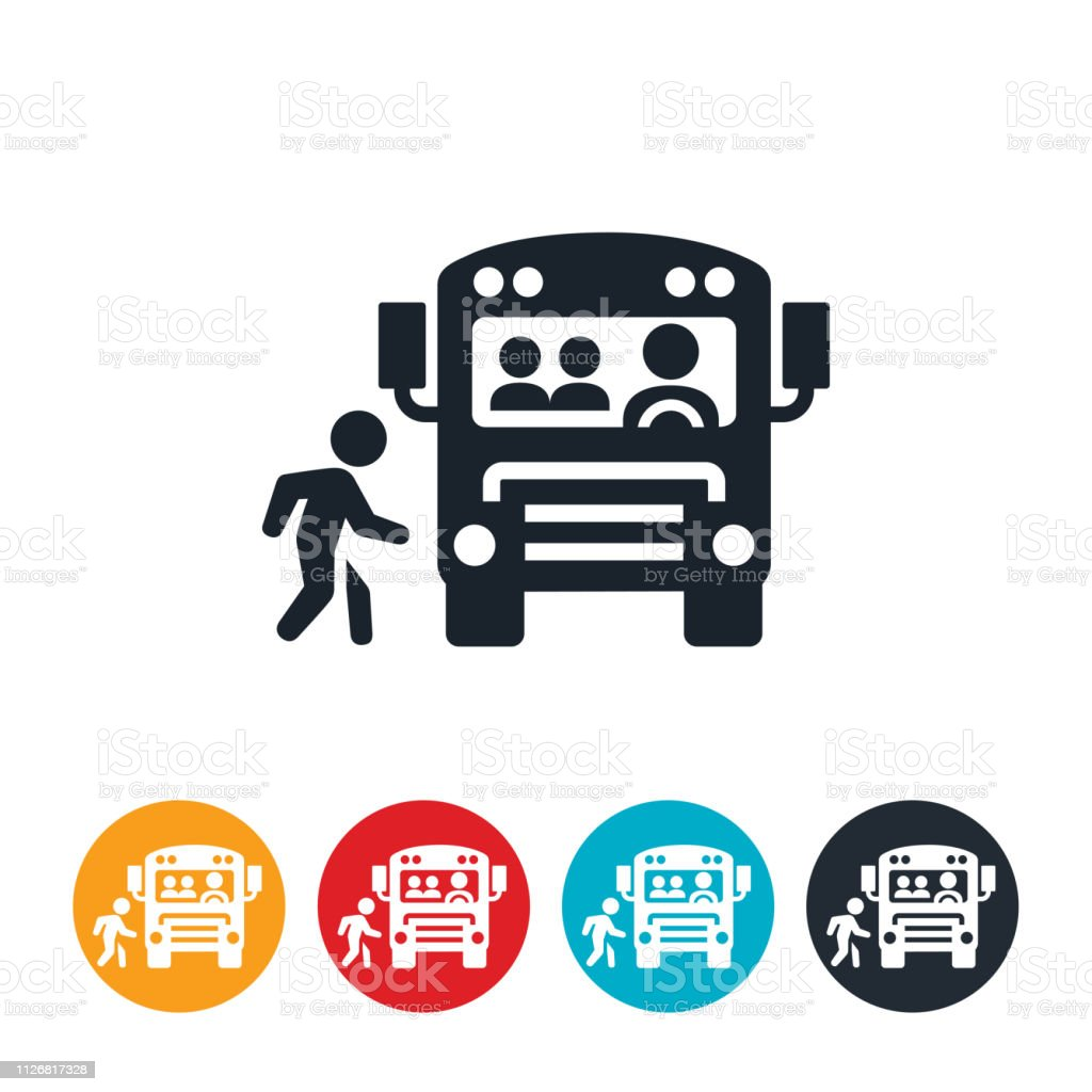 Child Boarding School Bus Icon vector art illustration