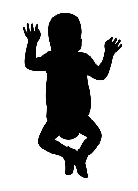 stockillustraties, clipart, cartoons en iconen met een kind lichaam silhouet vector - alleen één jongensbaby