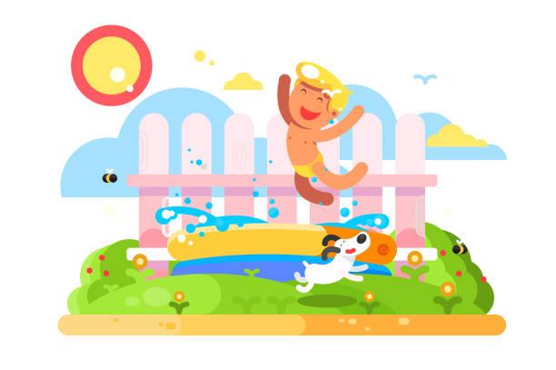 Child boy play in garden pool vector art illustration