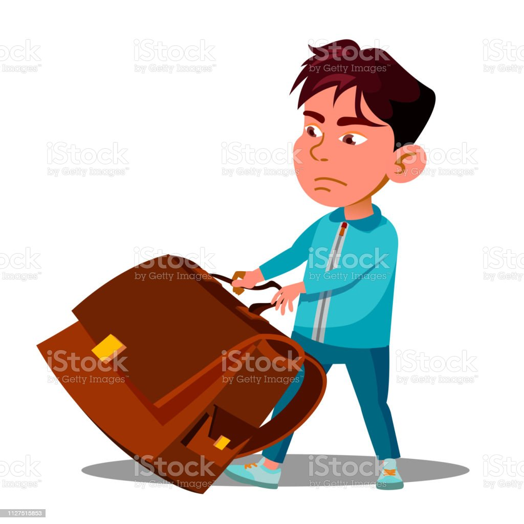 Child Boy With Effort Draging Along The Floor A Heavy School Backpack Vector. Isolated Illustration