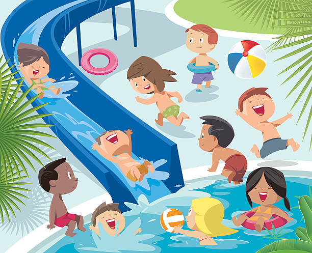 Child boys and girl playing in water park vector art illustration