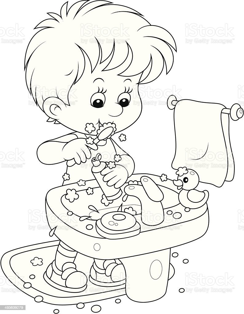 child brushing teeth coloring pages - photo#18