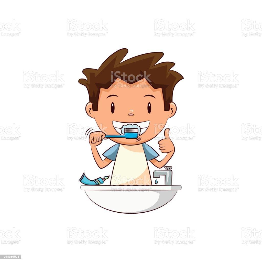 Child brushing teeth vector art illustration