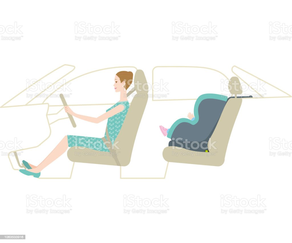 Child car seat and mother driving(Isofix) vector art illustration