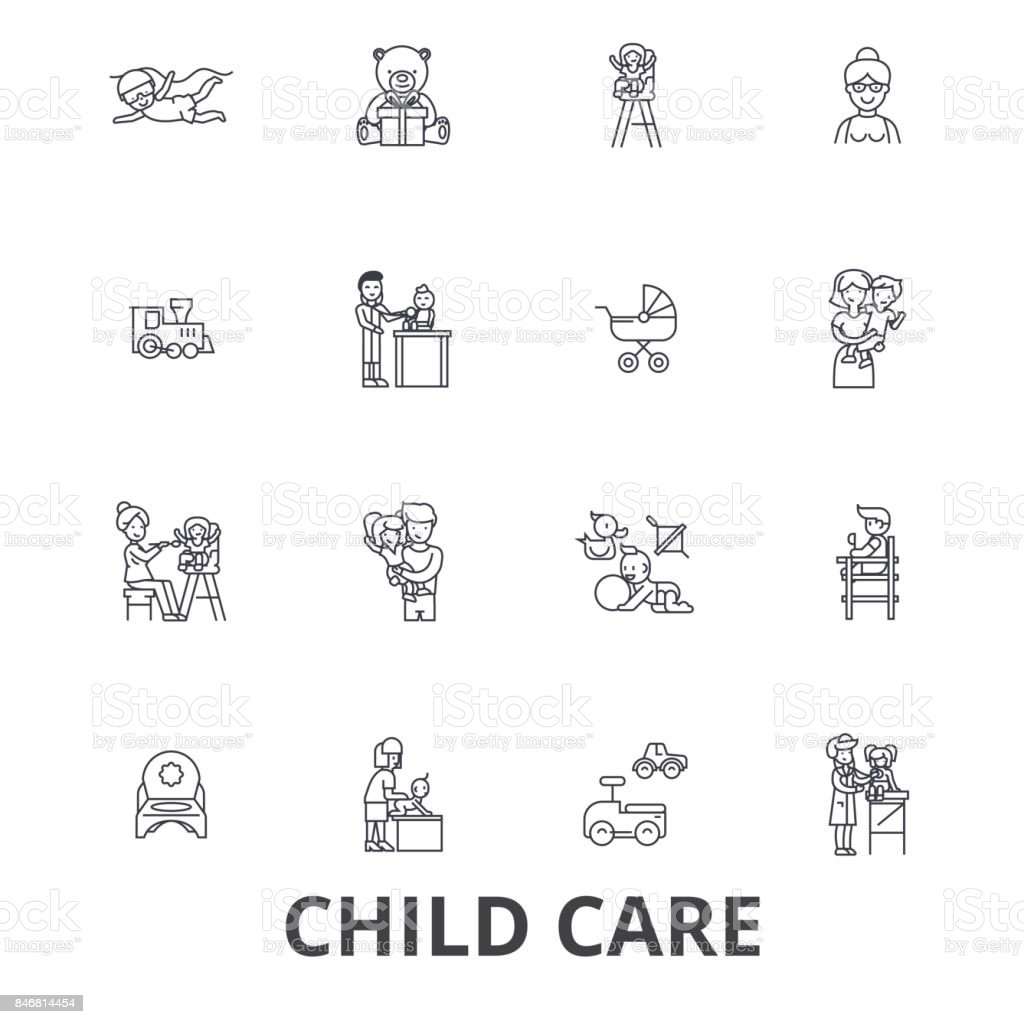 Garde d'enfants, baby-sitter, préscolaire, nounou, crèche, enfants qui jouent, icônes de ligne daycare Centre. Strokes modifiables. Concept de design plat vector illustration symbole. Linéaires signes isolés - Illustration vectorielle