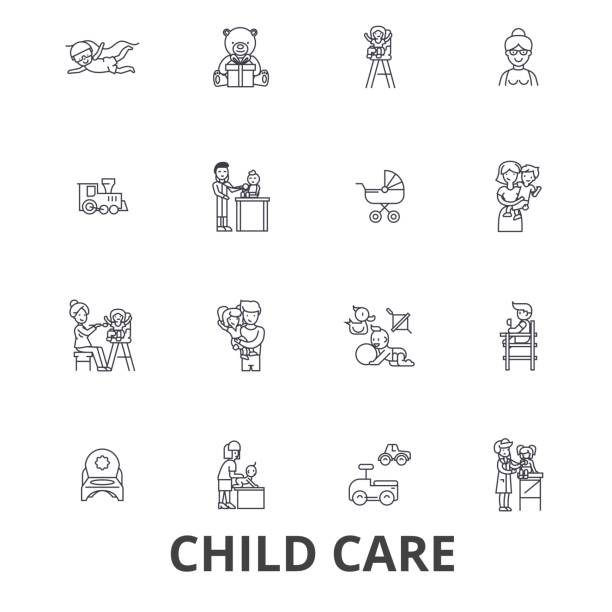 child care, babysitter, preschool, nanny, nursery, kids playing, daycare center line icons. editable strokes. flat design vector illustration symbol concept. linear signs isolated - babysitter stock illustrations, clip art, cartoons, & icons