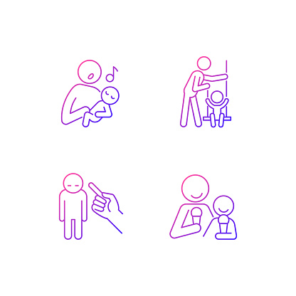 Child care gradient linear vector icons set