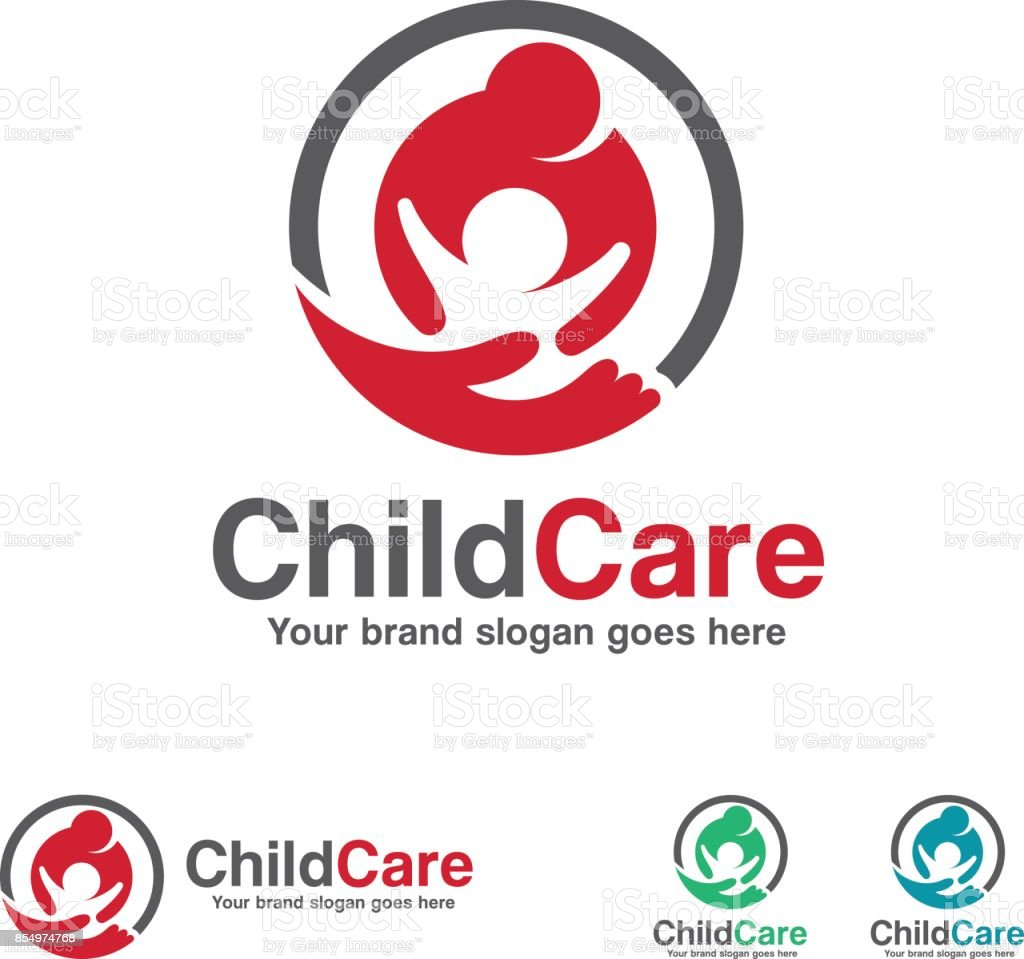 Child Care icon, Mother and Kid with Hand Symbol vector art illustration