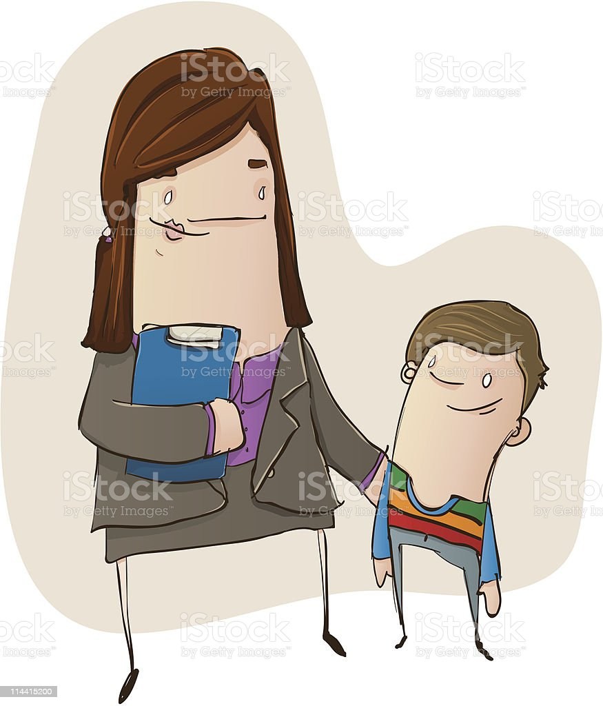 Child Care Worker with Young Boy vector art illustration