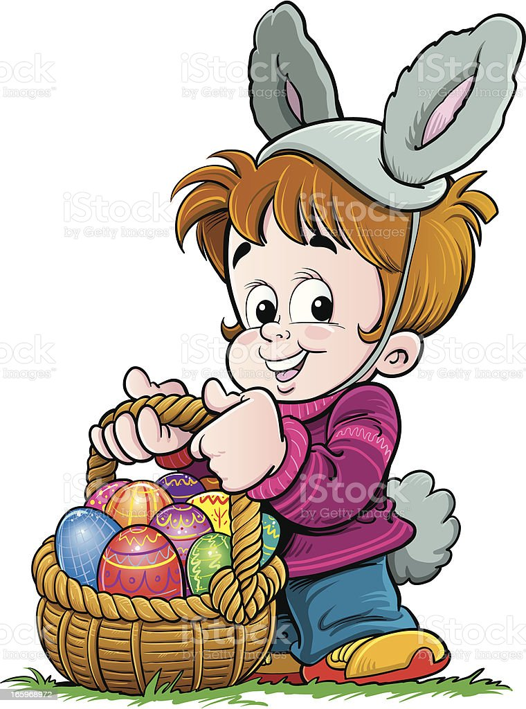 Child carrying Easter eggs royalty-free stock vector art