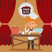 Child chef preparing food in kitchen, online blog and social network vector illustration. Flat character gourmet kid work profession, design culinary occupation hobby young character.