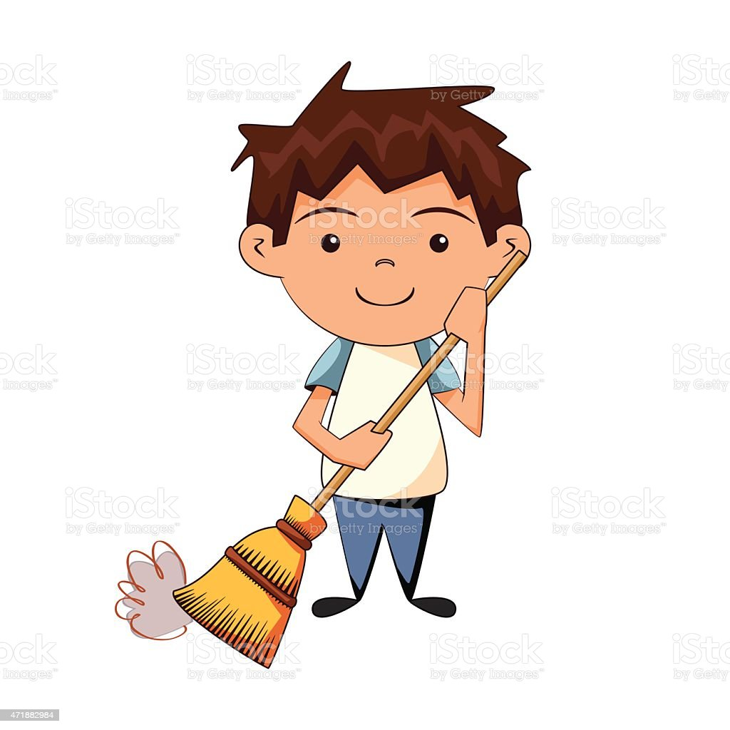 Child Cleaning Sweeping stock vector art 471882984 | iStock