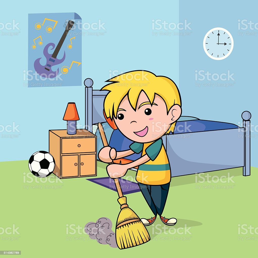 Child cleaning the bedroom vector art illustration