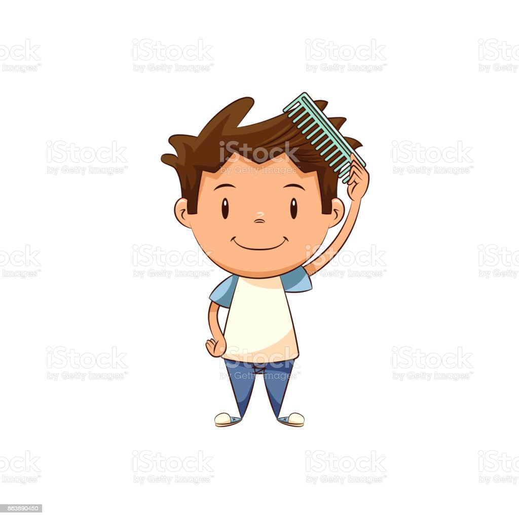 royalty free boy combing hair clip art vector images