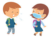 Vector Child coughing to friend. Girl wearing face mask