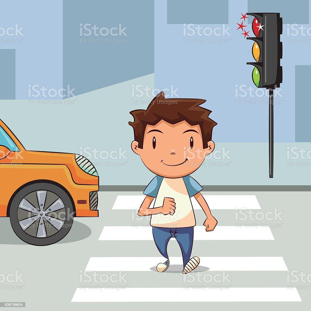Child crossing street vector art illustration