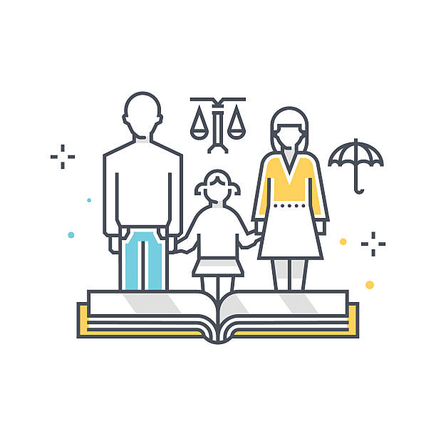 illustrazioni stock, clip art, cartoni animati e icone di tendenza di child custody illustration - divorzio