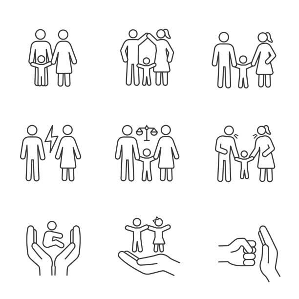 子親権線形アイコンセット - 保育点のイラスト素材/クリップアート素材/マンガ素材/アイコン素材