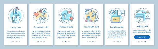 stockillustraties, clipart, cartoons en iconen met pagina scherm voor onboarding van kinderopvang voor mobiele apps - adoptie