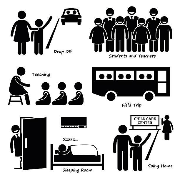 bildbanksillustrationer, clip art samt tecknat material och ikoner med child daycare center pictogram icons - parent talking to child