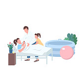 Child delivery flat color vector faceless characters. Lamaze method for labor. Family with newborn. Alternative childbirth at home isolated cartoon illustration for web graphic design and animation