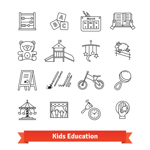 Child development and childhood education Child development and childhood education. Thin line art icons set. Kids toys, care, routine. Linear style symbols isolated on white. alphabet clipart stock illustrations