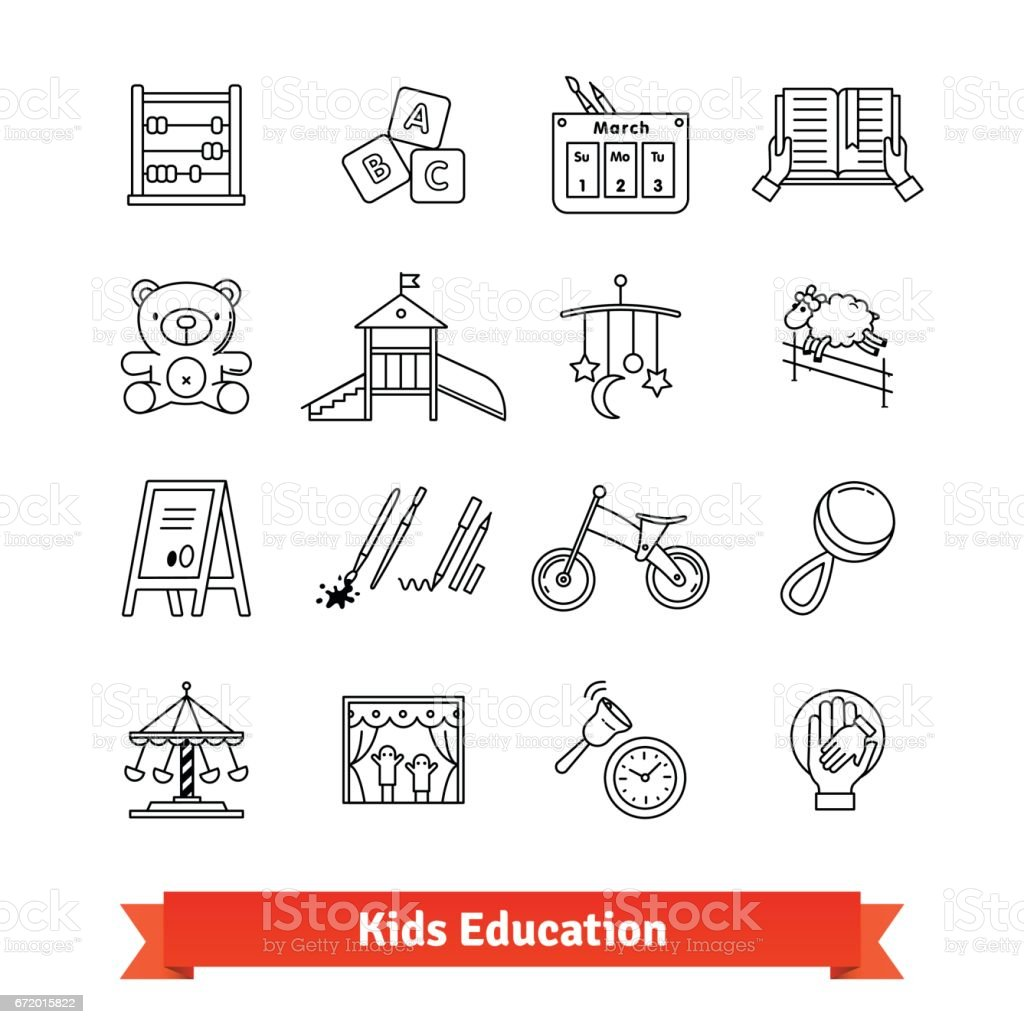 Child development and childhood education vector art illustration