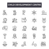 Child development centre line icons for web and mobile. Editable stroke signs. Child development centre  outline concept illustrations