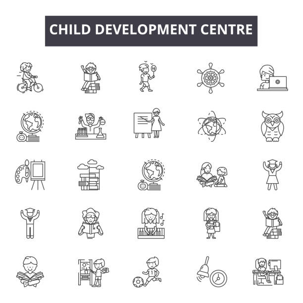 web およびモバイルデザイン用のチャイルド開発センターラインアイコン。編集可能なストロークサイン。子ども開発センター概要概念図 - 保育点のイラスト素材/クリップアート素材/マンガ素材/アイコン素材